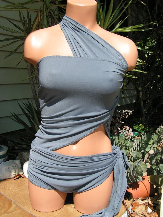 Sizeless Large Wrap-around Swimsuit Solid Grey